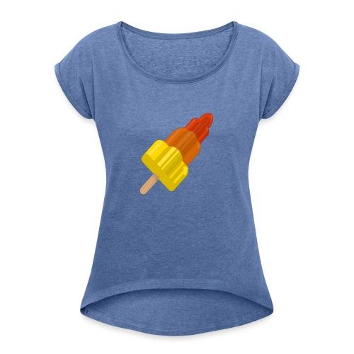 OVERMOED GROOT - Vrouwen T-shirt met opgerolde mouwen