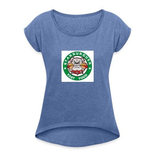starburger - Camiseta con manga enrollada mujer