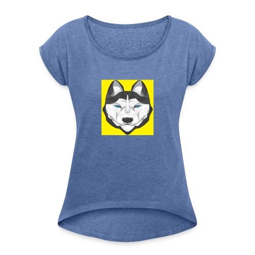 husky - Frauen T-Shirt mit gerollten Ärmeln