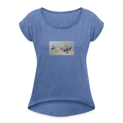 avions de chasse fr - T-shirt à manches retroussées Femme