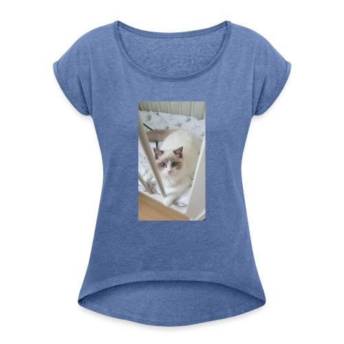 bibi in bed - Vrouwen T-shirt met opgerolde mouwen
