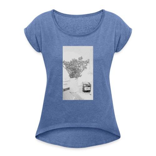 Blumen Stillleben - Frauen T-Shirt mit gerollten Ärmeln