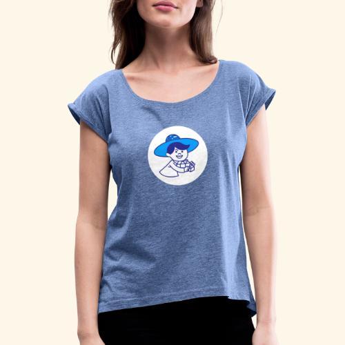 little guy white circle - T-shirt à manches retroussées Femme