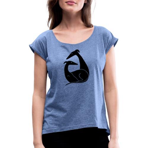 Windhundpaar - Frauen T-Shirt mit gerollten Ärmeln