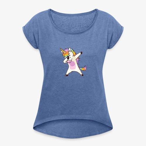 unicorn - Naisten T-paita, jossa rullatut hihat