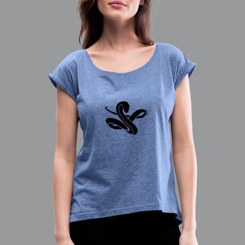 ssssnnnnaaaaaakkkeee - Vrouwen T-shirt met opgerolde mouwen