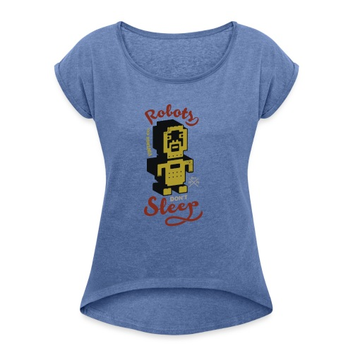 Vintage Robots - Camiseta con manga enrollada mujer