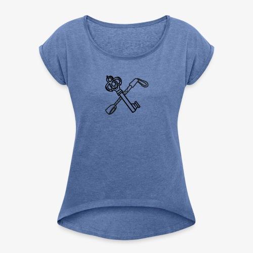 Logo unique black - T-shirt à manches retroussées Femme