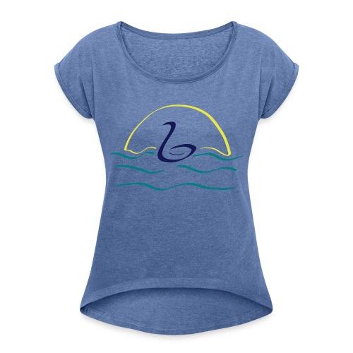Swan - Vrouwen T-shirt met opgerolde mouwen