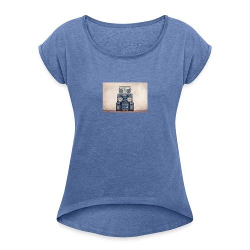 Beauty - T-shirt med upprullade ärmar dam