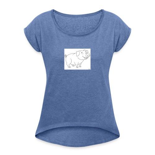 Cochon de lait anime. - T-shirt à manches retroussées Femme