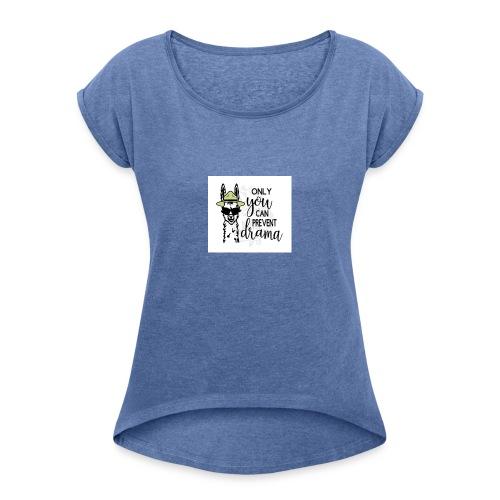 Lama Drama - Vrouwen T-shirt met opgerolde mouwen