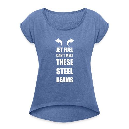 Danktop - Naisten T-paita, jossa rullatut hihat