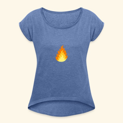 Logotipo Increíble de fuego - Camiseta con manga enrollada mujer
