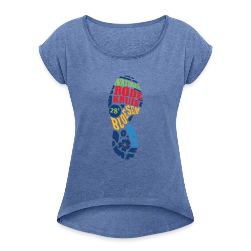 28e Bloesemtocht - Vrouwen T-shirt met opgerolde mouwen