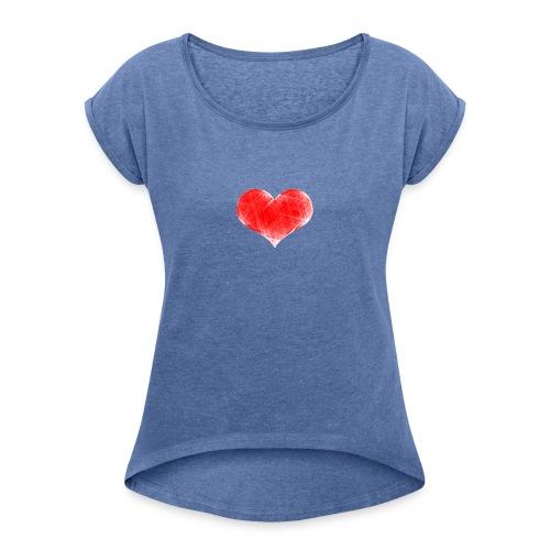 coranzon de lineas - Camiseta con manga enrollada mujer