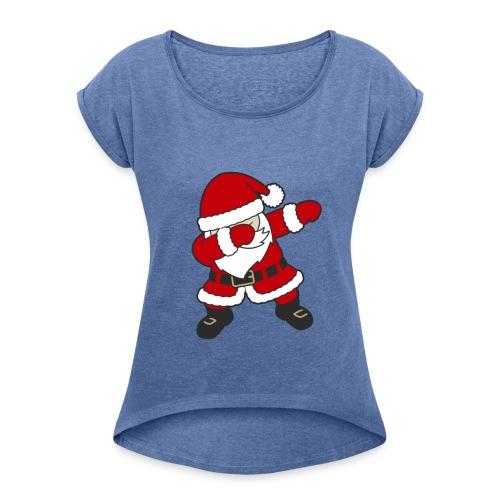 Dab Dabbing Trend Santa Claus Weihnachtsmann Logo - Frauen T-Shirt mit gerollten Ärmeln