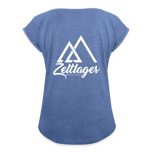 Zeltlager Logo hinten weiß Edition - Frauen T-Shirt mit gerollten Ärmeln