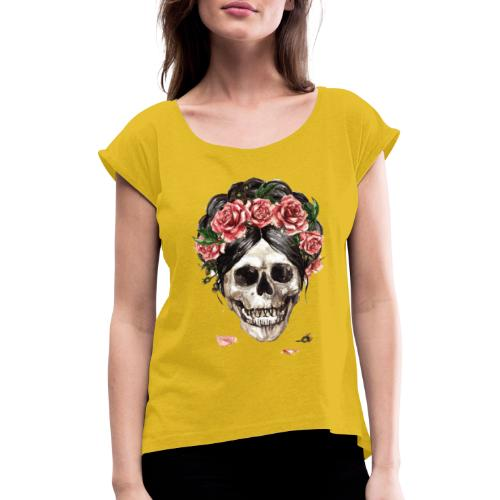 ✦ Las rosas de la muerte ✦ - Frauen T-Shirt mit gerollten Ärmeln