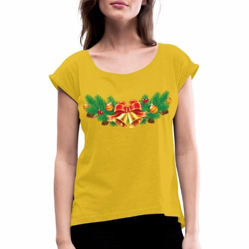 Jul-Dekoration - T-shirt med upprullade ärmar dam