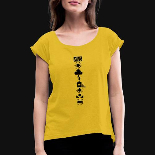 Weissabgleich Symbole Vertikal - Frauen T-Shirt mit gerollten Ärmeln