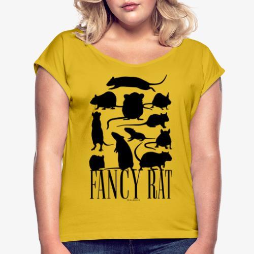 Fancy Rat Black - Naisten T-paita, jossa rullatut hihat