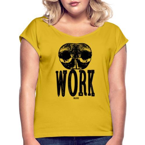 Nose Work Black - Naisten T-paita, jossa rullatut hihat