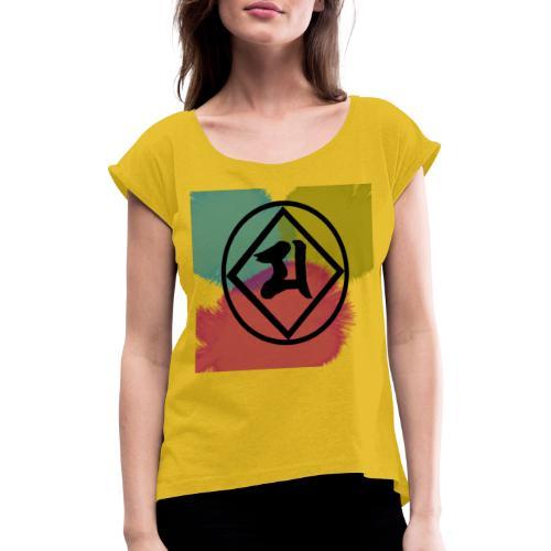 Logo Japones color - Camiseta con manga enrollada mujer