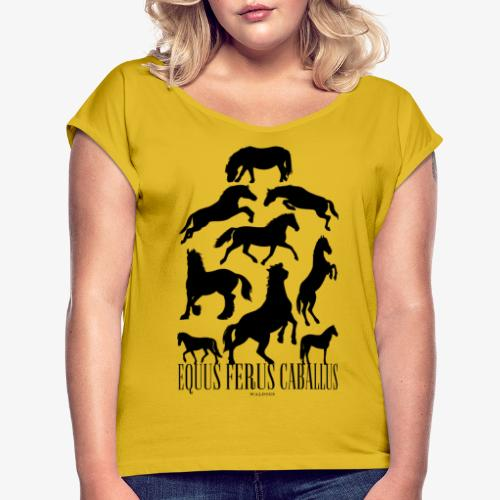 Equus Ferus Caballus Black - Naisten T-paita, jossa rullatut hihat