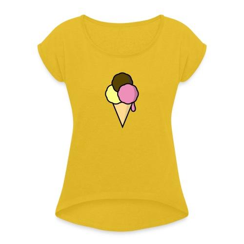 Food: Eis - Frauen T-Shirt mit gerollten Ärmeln