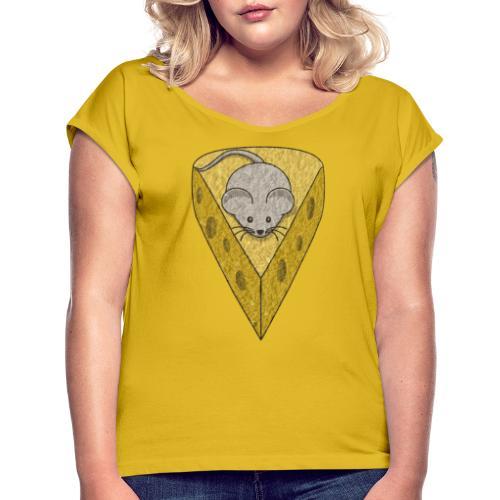 Ser Myszka - Koszulka damska z lekko podwiniętymi rękawami