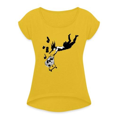 Covid-19 shopping cart (utan text) - T-shirt med upprullade ärmar dam