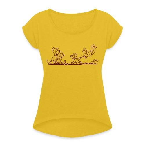 Gassigehen - Frauen T-Shirt mit gerollten Ärmeln