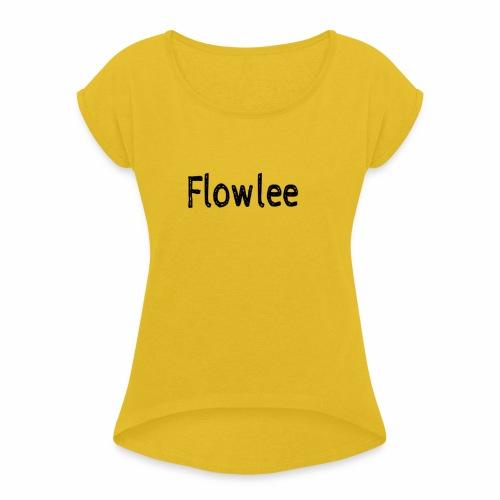 Flowlee - T-shirt med upprullade ärmar dam