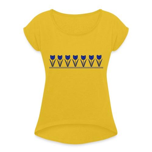 tulpen - Vrouwen T-shirt met opgerolde mouwen
