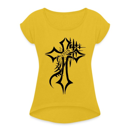 cross - T-skjorte med rulleermer for kvinner