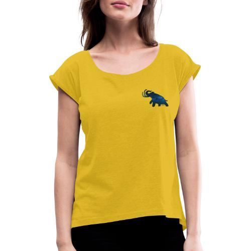 Space Mammoth - Frauen T-Shirt mit gerollten Ärmeln