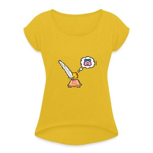 Love Letter Feder - Frauen T-Shirt mit gerollten Ärmeln