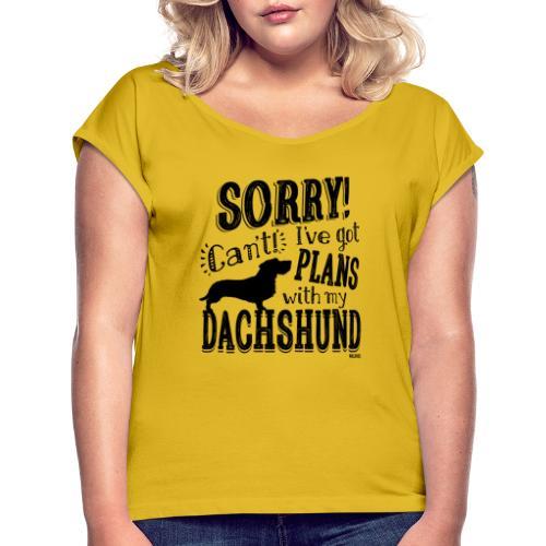 Plans Doxie WH B2 - Naisten T-paita, jossa rullatut hihat