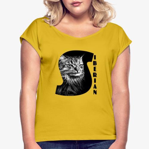 Siberian Cat S - Naisten T-paita, jossa rullatut hihat