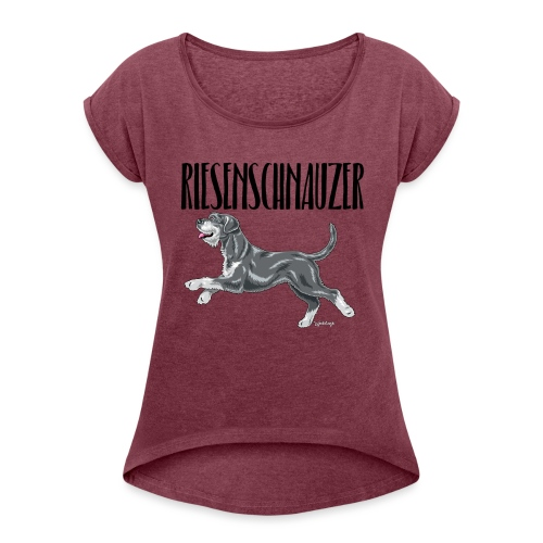 Riesenschnauzer 01 - Women's T-Shirt with rolled up sleeves