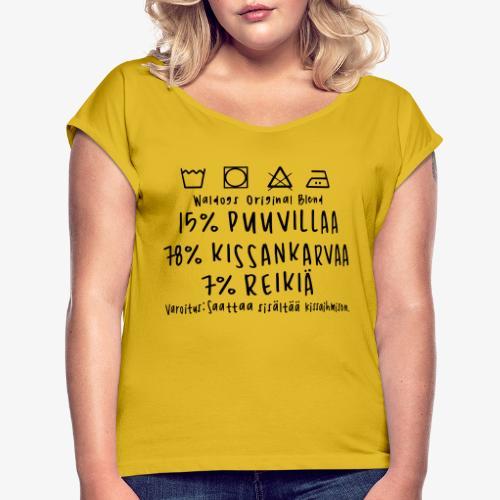 Kissan Omistajan Paita - Naisten T-paita, jossa rullatut hihat