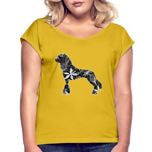 Flower Crested - Naisten T-paita, jossa rullatut hihat