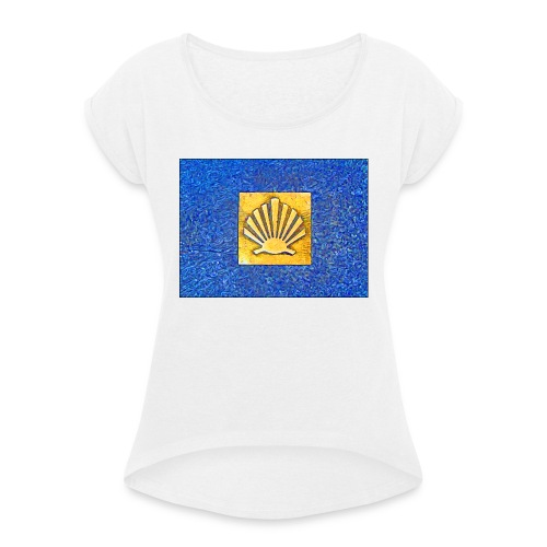 Scallop Shell Camino de Santiago - Women's T-Shirt with rolled up sleeves