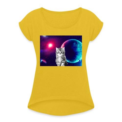 Cute cat in space - Naisten T-paita, jossa rullatut hihat