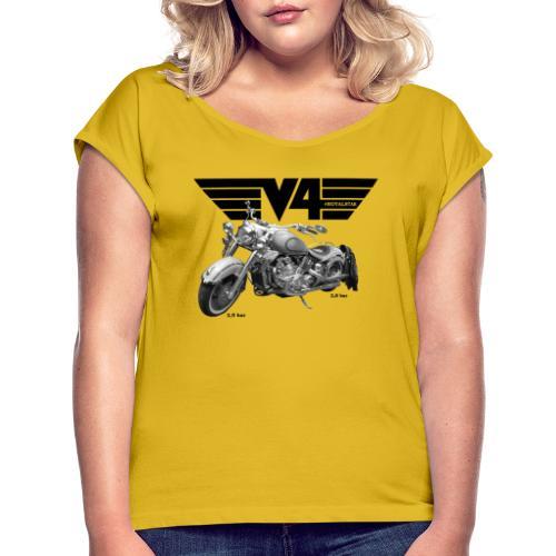 V4 Motorcycles black Wings - Frauen T-Shirt mit gerollten Ärmeln
