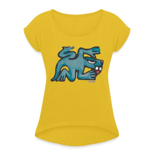 Aztec Lizard/Net - Women's T-Shirt with rolled up sleeves