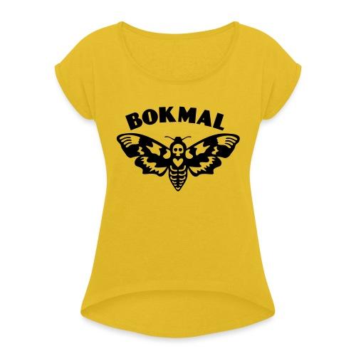 BOKMAL - T-shirt med upprullade ärmar dam