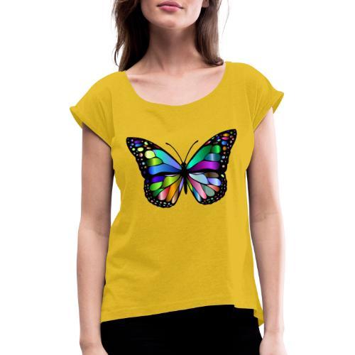 Kolorwy Motyl - Koszulka damska z lekko podwiniętymi rękawami