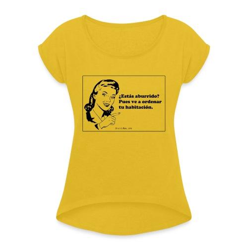 Regalo del día de la madre. - Camiseta con manga enrollada mujer